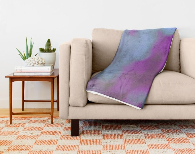 Purple Fleece Throw Blanket - Bedding - Bokeh Photography - Throw Blanket - Soft Fleece Blanket - Made to Order