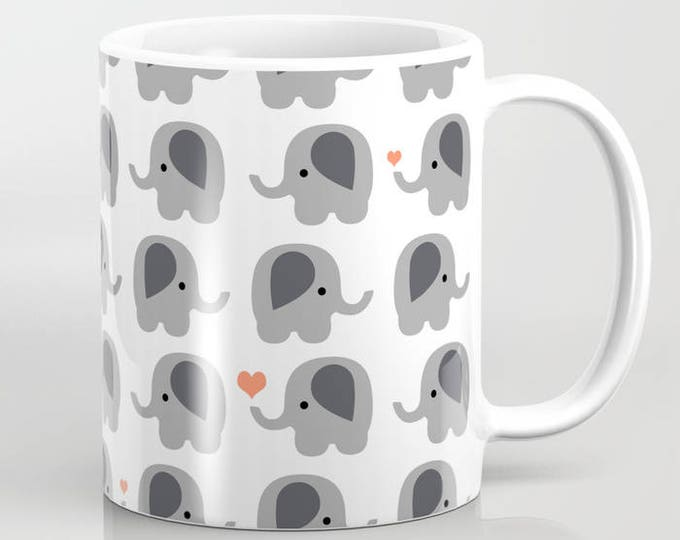 Coffee Mug - Elephants with Orange Hearts - Coffee Cup - 11 oz - 15 oz - Ceramic Mugs - Made to Order
