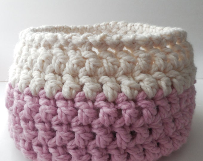 Baby Bowl - Crochet Basket - Photo Prop - Baby Basket - Pink and White - Crochet Bowl - Photo Baby Bowl - Handmade - Crochet - Ready to Ship