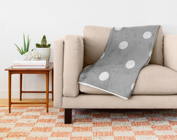 Grey Fleece Throw Blanket - Bedding - Polka Dot Throw Blanket - Soft Fleece Blanket - Made to Order