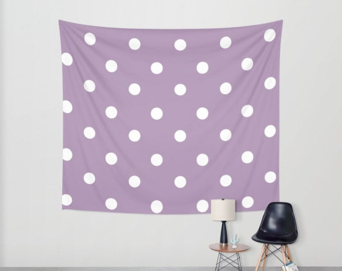 Polka Dot Hanging Tapestry - Wall Tapestry -  Large Wall Hanging - Purple Polka Dots - Tapestry Decor - Made to Order