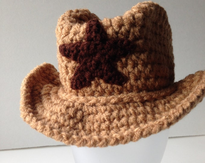 Cowboy Hat - Baby Photo Prop - Cowboy Baby - Buckaroo Baby - Handmade Crochet - Made to Order