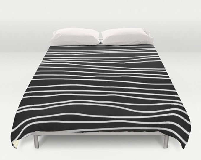 Duvet Cover - Black and White Striped - Duvet Cover Only - Bed Spread - Twin Size - Full Size - Queen Size - King Size - Made to Order