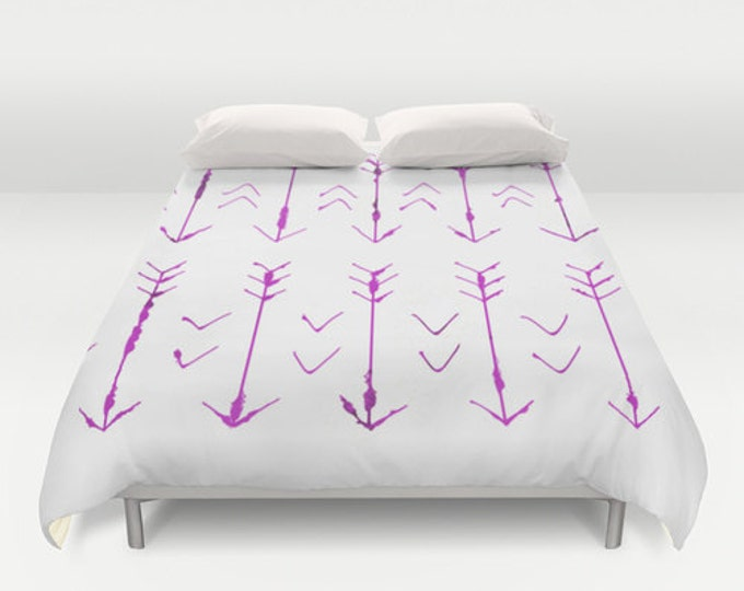 Purple Arrow Bed Cover - Hand Drawn Purple Arrows - Duvet Cover Only - Bed  Spread - Made to Order