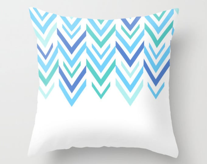 Blue and White Pillow Cover - Throw Pillow Cover - Includes Pillow Insert - Blue Arrows - Sofa Pillow - Home Decor - Made to Order