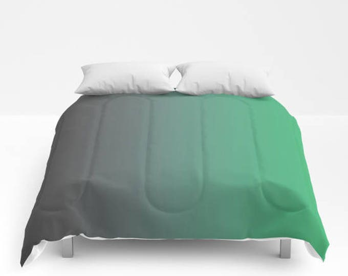 Green Comforter - Gray to Green Ombre Comforter - Bed Cover - Bedding - King - Queen - Full - Made to Order