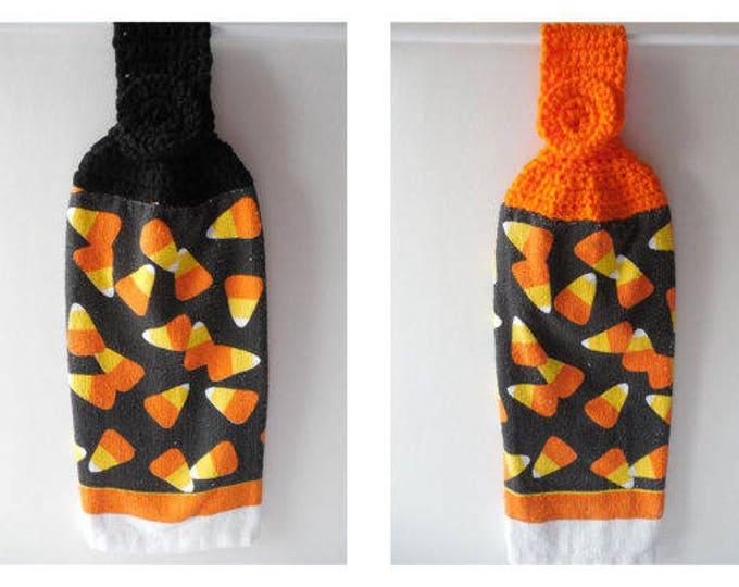 Kitchen Hanging Towel - Halloween Towel - Crochet Top - Handmade Crochet - Candy Corn - Ready to Ship