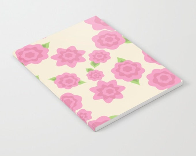 Pink Flower Notebook - Old Fashioned Pink Flower Art - Blank Book - Lined - Unlined - Made to Order