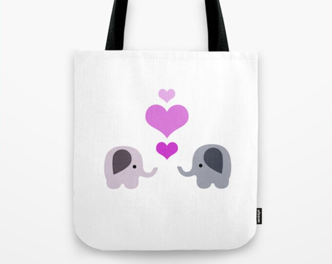 Elephant Love Tote Bag - Book Bag - Grocery Bag - Beach Bag - 2 Elephants with Hearts - Made to Order