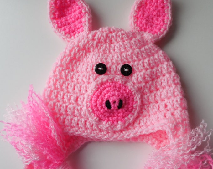 Baby Animal Hat - Pig Earflap Hat - Piggy Baby Hat - Pink Baby Hat - Baby to Adult Sizing - Photo Prop - Crochet - Handmade - Made to Order
