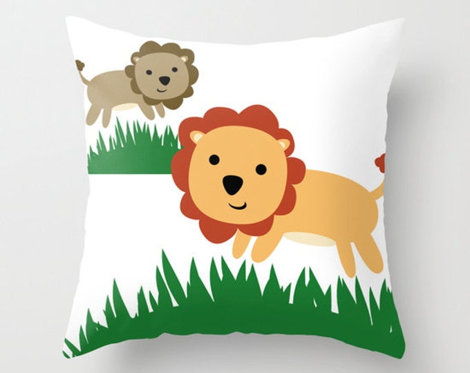 Lion Throw Pillow Cover Includes Pillow Insert - Lion Themed Pillow - Throw Pillow - Nursery Decor - Kids Room Decor - Made to Order