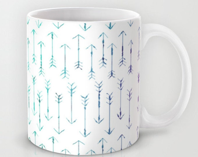 Coffee Mug - Small Teal Arrows  - Hand Drawn Arrows - 11 oz Mug - 15 oz Mug - Original Art - Ceramic Coffee Cup - Made to Order