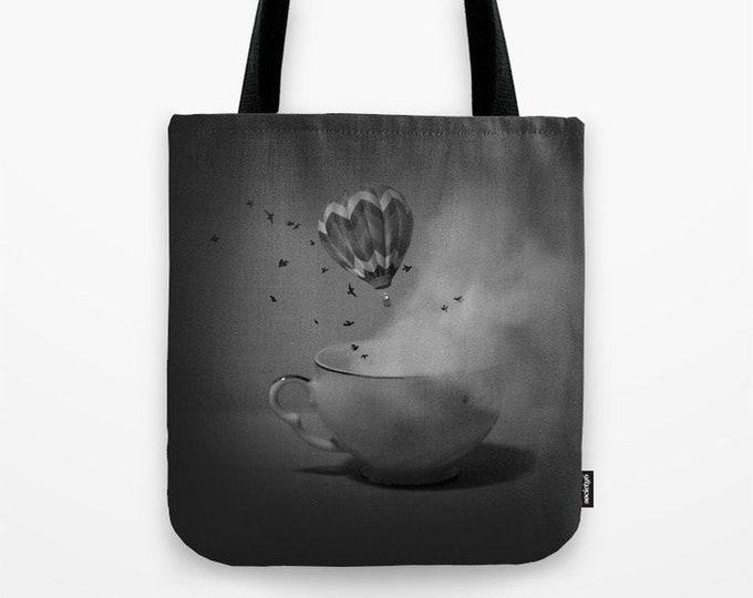 Tea Cup Tote Bag - Grocery Bag - Beach Bag - Book Bag - Hot Air Balloon - Photo Art - Fantasy Tote Bag - Made to Order