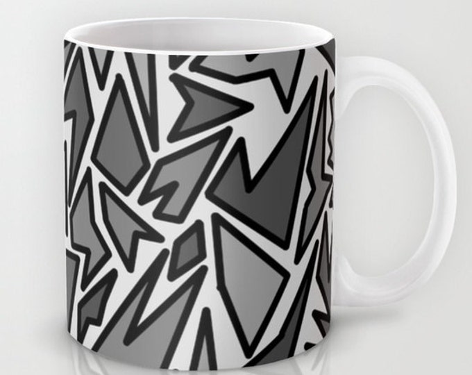 Abstract Art - Coffee Mug -  Mug - Original Art Black and Gray - Coffee Cup - Made to Order