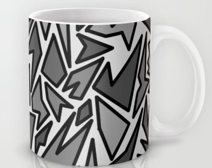 Abstract Art - Coffee Mug -  Mug - Original Art Black and Gray - Coffee Cup - Made to Order