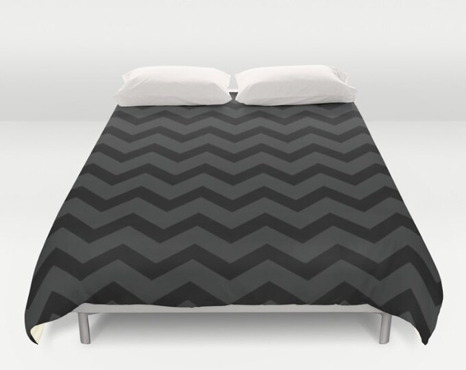 Black and Grey Chevron Print Duvet Cover - Zig Zag Art - Bed Spread - Bed Cover -  Duvet Cover Only - Bedding - Made to Order