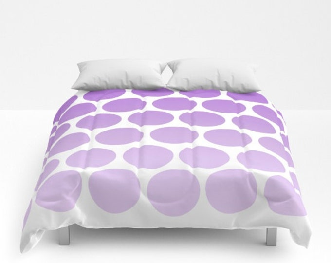 Purple Polka Dot Comforter - Ombre Shades  - Bed Cover - Bedding - King - Queen - Full - Made to Order