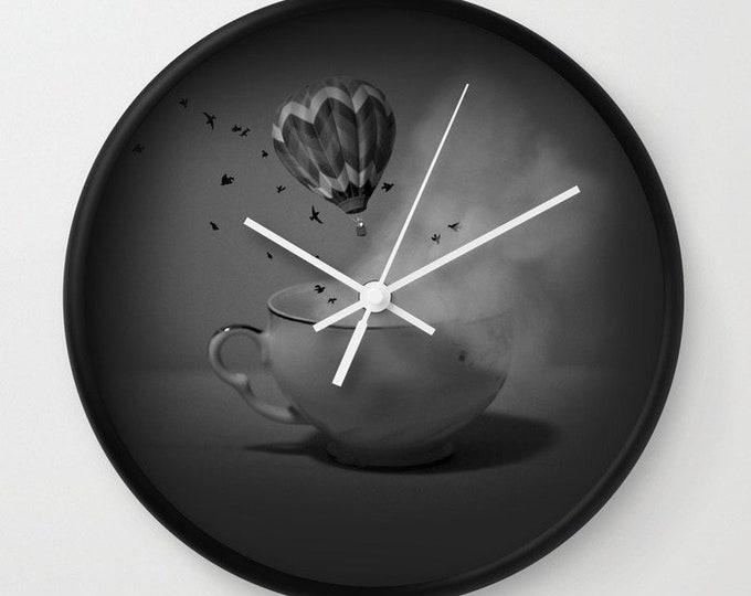 Clock - Tea for Two - Tea cup - Hot Air Balloon - Fantasy Art - Wall Clock - Made to Order