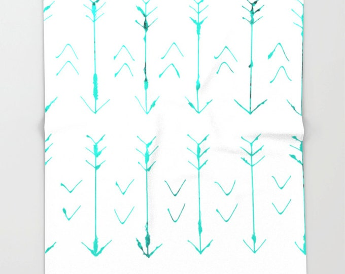 Teal Arrow Soft Fleece Throw Blanket - Bedding - Hand Drawn Arrows - Fleece Throw Blanket - Made to Order