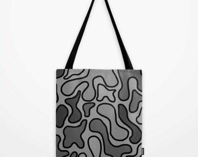 Black Abstract Tote Bag - Book Bag - Grocery Bag - Beach Bag - Black and Gray Tote Bag -  Made to Order