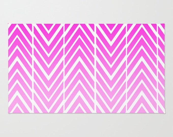 Pink Floor Rug - Door Rug  - Pink and White  - Bathroom Decor - Arrow Art - Throw Rug - Made to Order