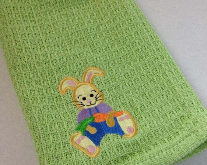 Bunny Towel -  Crochet Top - Kitchen Towel - Easter Towel - Green - Handmade Crochet - Ready to Ship