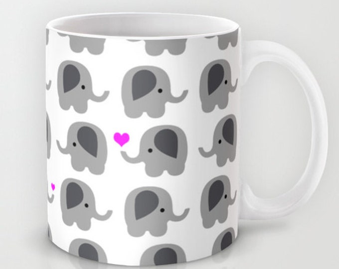 Coffee Mug Elephants with Hearts - Elephant Love - 11 oz - 15 oz - Ceramic Mug - Lots of Elephants - Made to Order