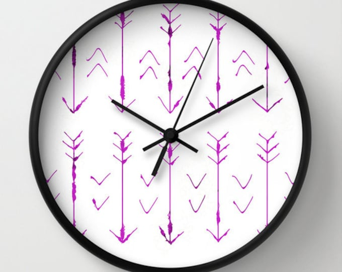 Wall Clock - Purple Arrows - Purple and White - Hand Drawn Arrows - Choice of Frame Color - Made to Order