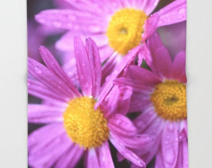 Purple Flower Fleece Throw Blanket - Bedding - Flower Photo - Large Purple Flower Fleece Throw Blanket - Made to Order