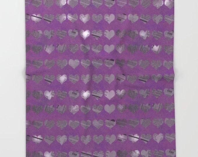 Purple Heart Fleece Throw Blanket - Bedding - Newspaper Hearts - Photo Art - Fleece Throw Blanket - Made to Order