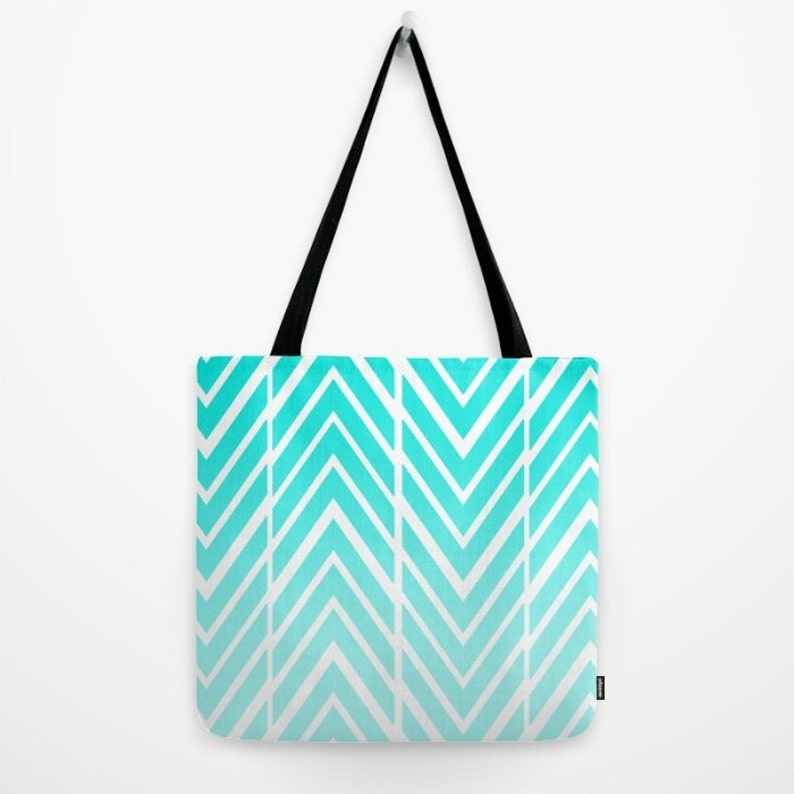 Turquoise Blue Tote Bag Childs Tote Bag Arrows Blue and White Grocery Bag Beach Bag Original Art Tote Made to Order