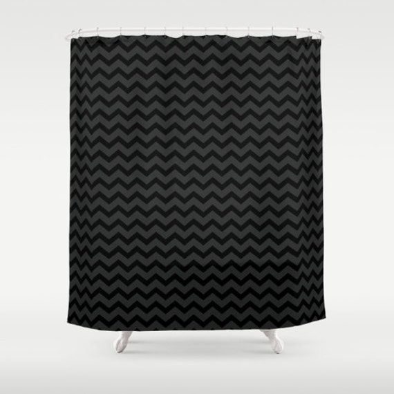Black And Gray Chevron Shower Curtain Small Print