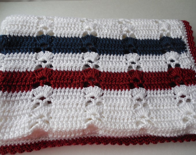 Baby Afghan - Red White and Blue - Lapghan - Handmade Crochet - Ready to Ship