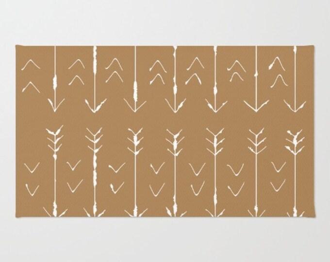 White and Tan  Floor Rug - Floor Mat - Room Rug - Hand Drawn Art - Bathroom Decor - Throw Rug - Made to Order