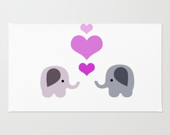 Elephant Love Floor Rug - Floor Mat - Room Rug - Nursery Art Rug - Bathroom Decor - Throw Rug - 2 Elephants with Hearts - Made to Order