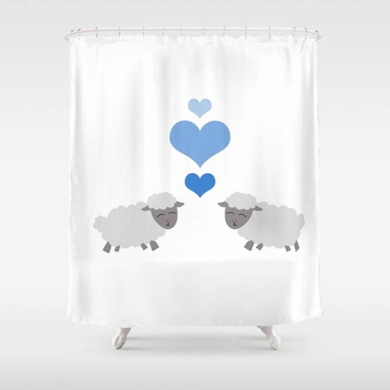 Sheep Shower Curtain Lamb Kisses