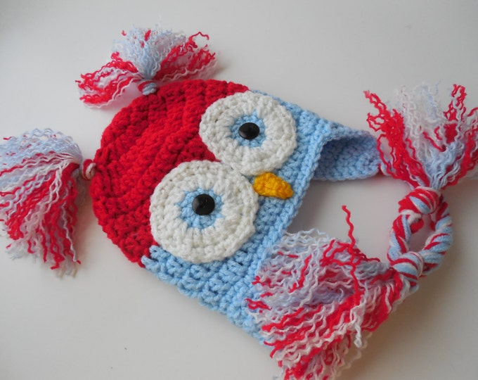 Crochet Owl Hat - Red White and Blue -  0 to 3 Months - Earflap Animal Hat - Patriotic Baby Hat - Handmade Crochet - Ready to Ship