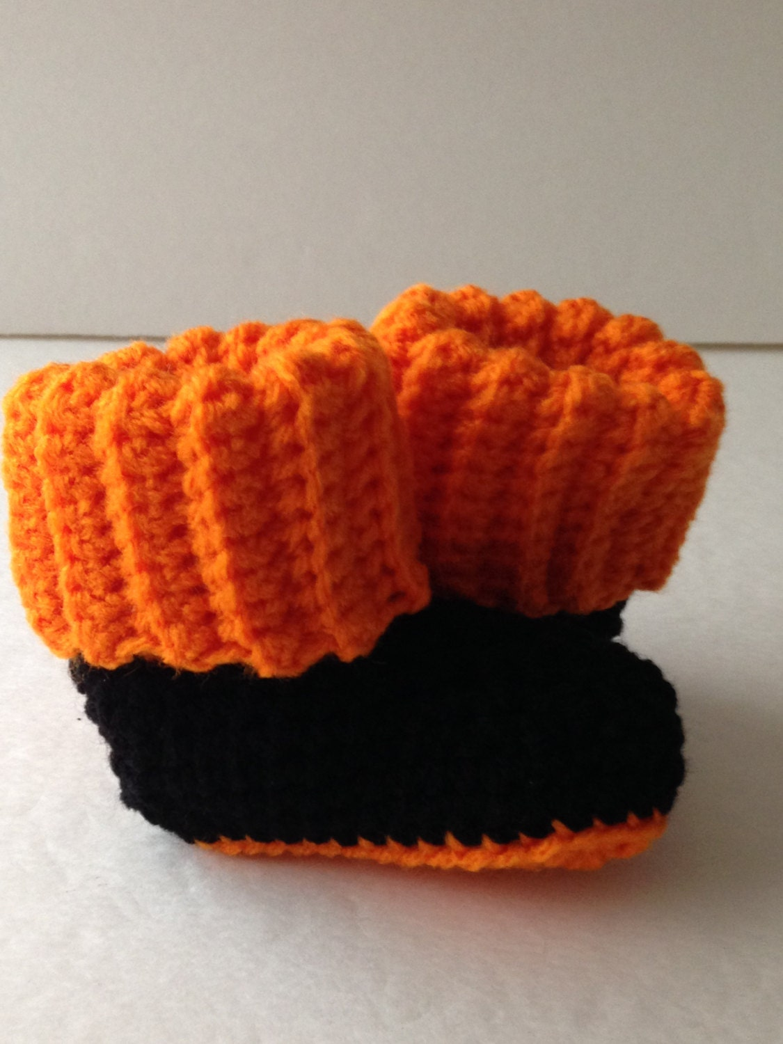 d3b339d58d3 Baby Booties - Halloween Black and Orange - Crochet Handmade - Ready to Ship