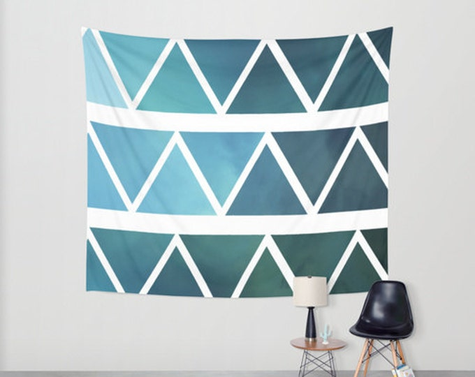 Blue Wall Art  - Hanging Tapestry - Shades of Blue Triangle Wall Art - Large Wall Photograph - Modern Print Tapestry - Made to Order