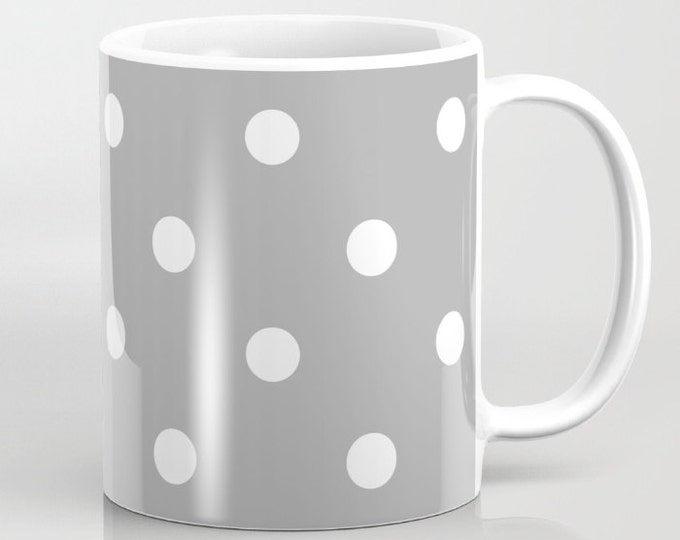 Coffee Mug - Grey and White Polka Dots - Coffee Mug 11 oz  - Mug 15 oz - Ceramic Mug - Made to Order