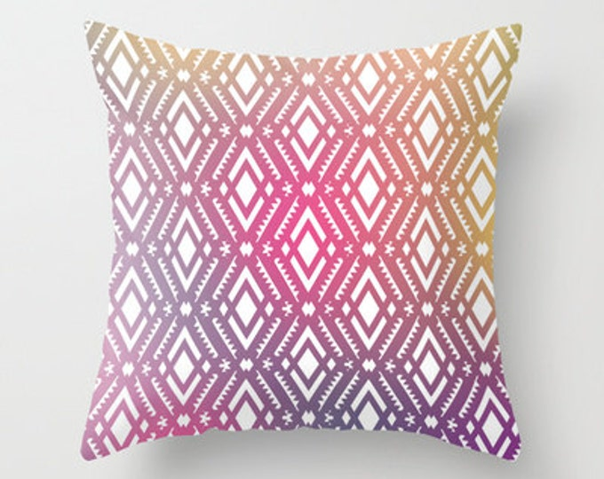 Pink Tribal Throw Pillow Cover Includes Pillow Insert - Pink Tribal Art - Sofa Pillow - Home Decor Decorative Pillow - Made to Order