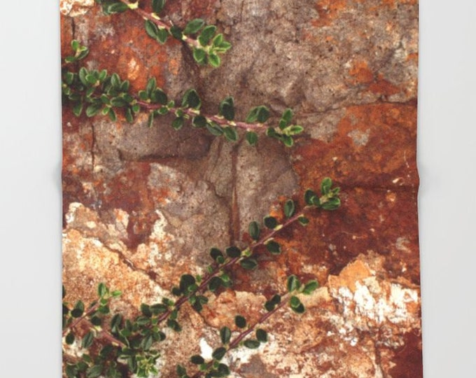 Nature Fleece Throw Blanket - Bedding - Rocks and Leaves Photo - Nature Lovers Fleece Throw Blanket - Brown Blanket - Made to Order