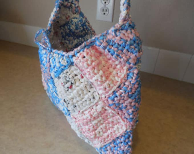 Shoulder Bag Purse - Bag - Pink Blue and White - Unusual Purse - Handmade Crochet - Ready to Ship