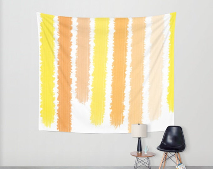 Tapestry Orange and Yellow Stripes - Wall Tapestry - Large Wall Hanging - 3 Sizes Available - Home Decor - Made to Order