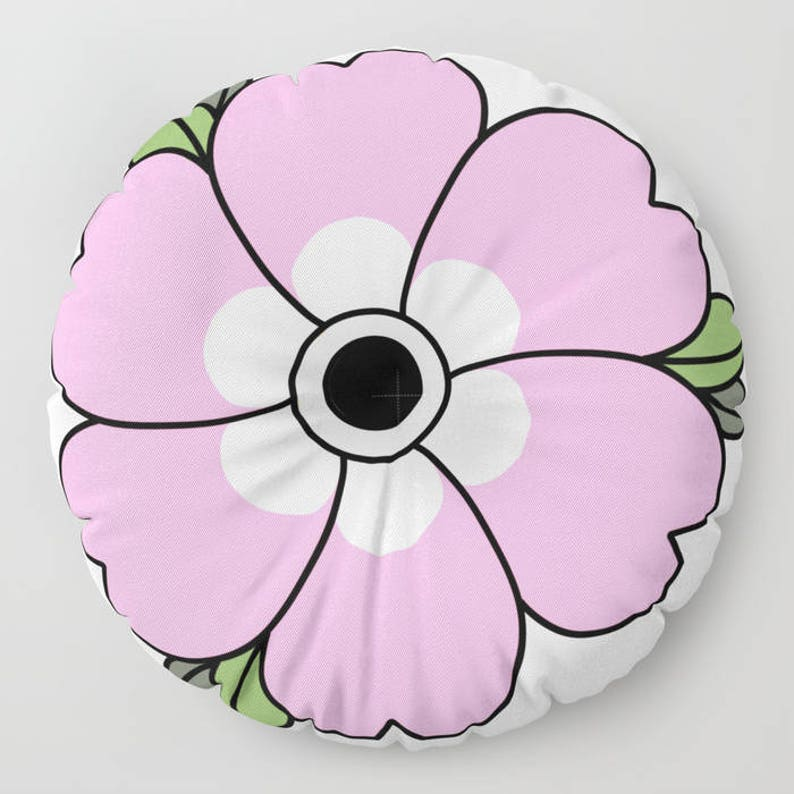Made to Order Decorative Pillow Pink Flower Large Flower Floor Pillows Round or Square Floor Cushion