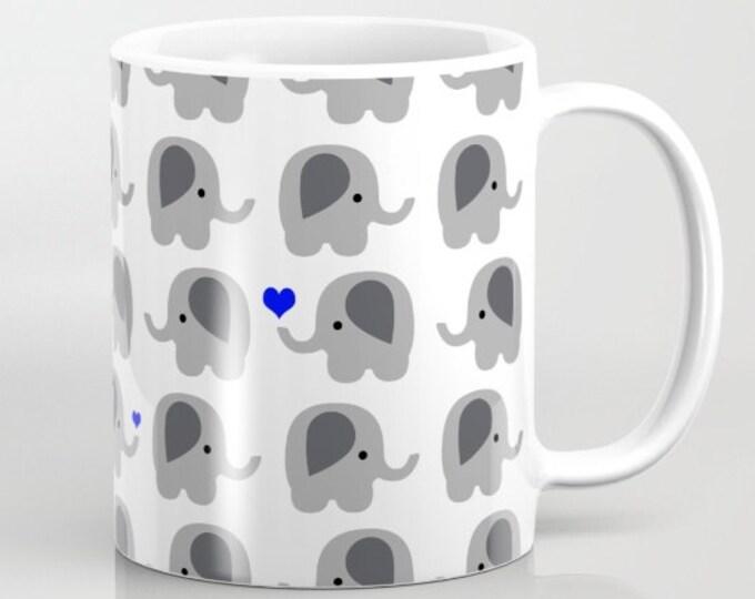 Elephant with Hearts Coffee Mug  - Blue Hearts - Coffee Cup - Elephant Coffee Mug - 11oz - 15oz - Ceramic - Made to Order