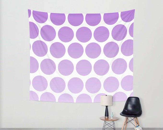 Polka Dot Hanging Tapestry - Wall Tapestry - Purple Polka Dots Wall Hanging - Large Wall Hanging - Home Decor - Made to Order