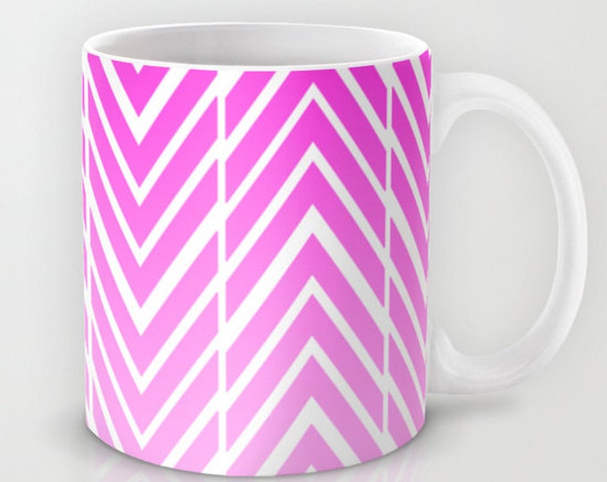 Pink Coffee Mug - Pink and White Arrow Art Mug - 11 oz Mug - 15 oz Mug - Original Art - Ceramic Coffee Cup - Made to Order