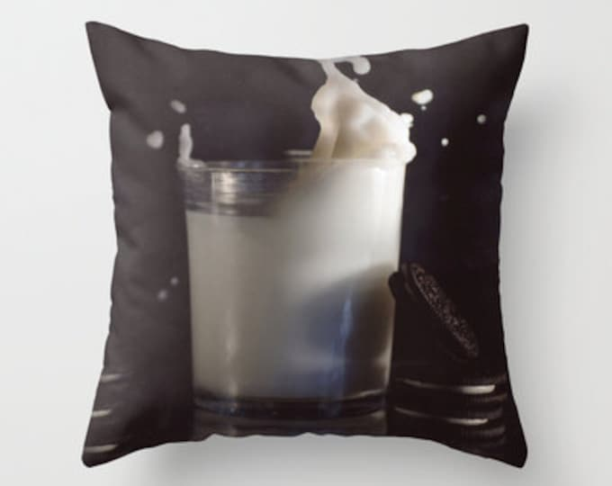 Cookies and Milk Pillow Cover - Throw Pillow Cover - Includes Pillow Insert - Photograph Pillow Cover - Made to Order