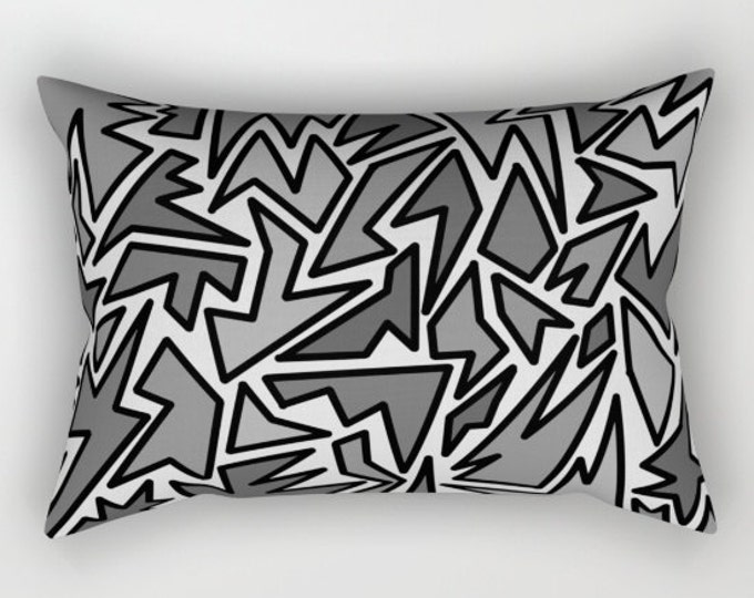 Pillow Cover - Black and Gray Abstract - Included Insert Rectangular Bed Pillow - Decorative Pillow - ZigZag Art - Made to Order